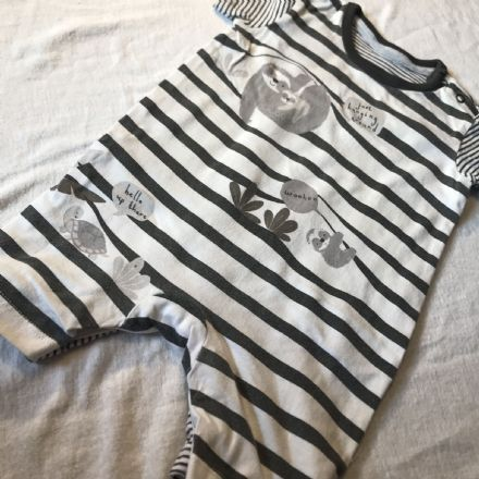 6-9 Month Grey Striped Playsuit